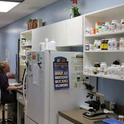 We keep a fully stocked pharmacy right in our hospital so we are able to treat your pets and refill your medications quickly.
